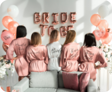 Bachelorette party with bridemaids in robes