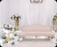 Flowery theme wedding decoration with sea view