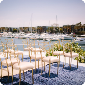 decorated yacht wedding venue by the sea
